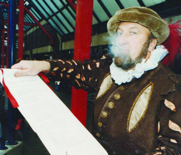 This Is Wiltshire: In November 1992 Michael White dressed up as Sir Walter Raleigh, the man credited with bringing tobacco back from the New World, in protest against moves by National Express to ban smoking from their coaches