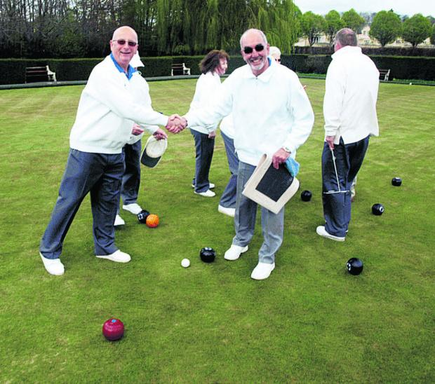 This Is Wiltshire: Secretary Derrick Hunt, left, and groundsman Morris Hughes, right, at the Bradford Bowls Club open day.                Photo: Richard Clarke