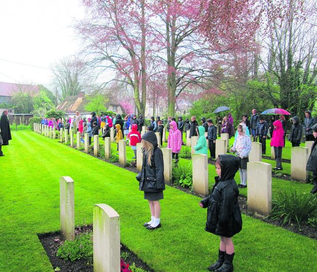 This Is Wiltshire: Wylye Valley School pupils taking part in their ANZAC service