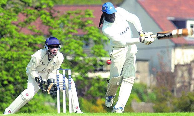 This Is Wiltshire: Urchfont's Corbett Joseph hits out during his side's Division One victory over Box, for whom Jordan Welsby (inset) unleashes a delivery