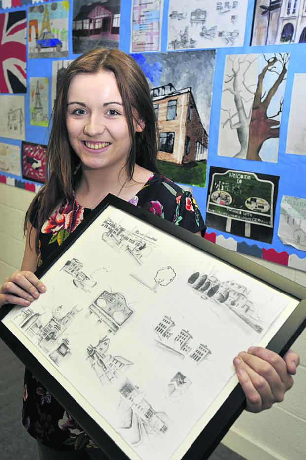 This Is Wiltshire: Cara Wallace  has won a prize with her pencil sketch of Melksham landmarks