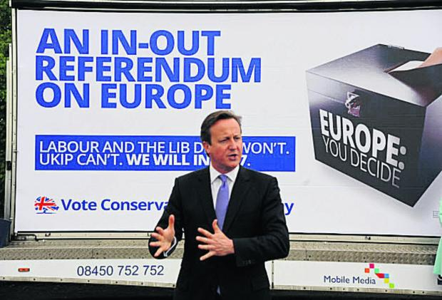This Is Wiltshire: Prime Minister David Cameron at the Euro election campaign poster launch at Chippenham Rugby Club. Picture by Trevor Porter (48576)