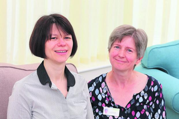 This Is Wiltshire: Catherine Piggin, left, clinical nurse specialist team leader for Prospect, and Sarah Powell, the clinical nurse specialist for care homes