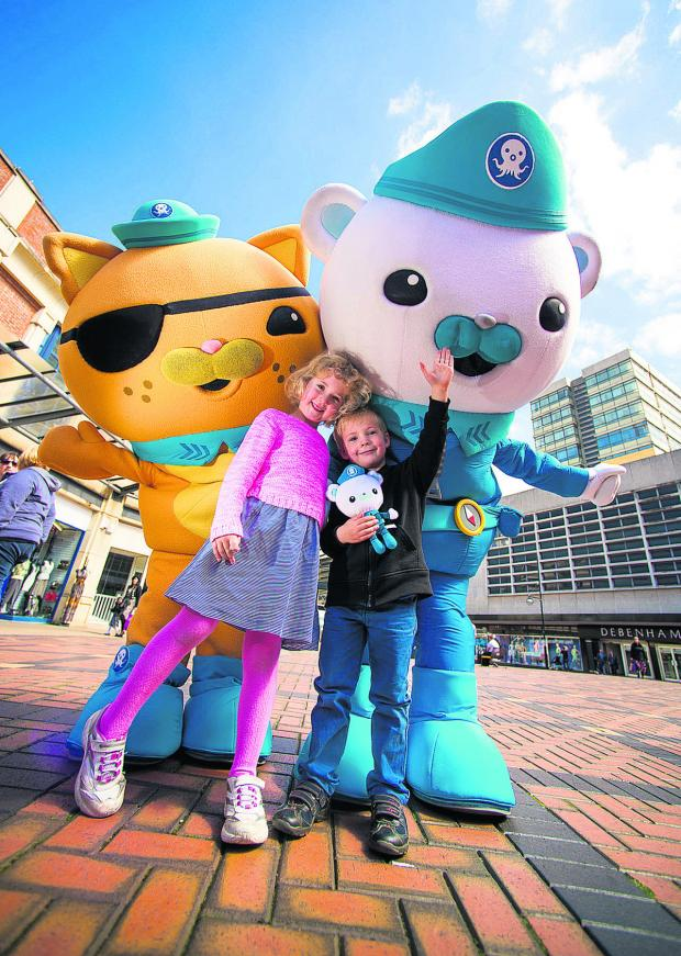 This Is Wiltshire: Sam, four, and Jessica, six meet Captain Barnacles and Kwazii, from the Octonauts at the Parade in Swindon