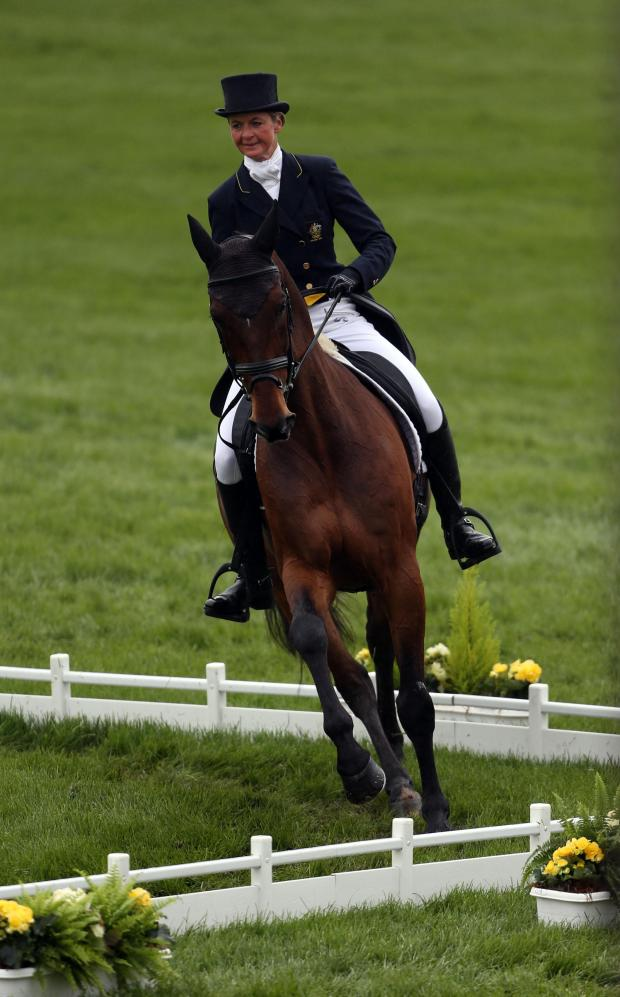 This Is Wiltshire: Little Cheverell-based Australian international Lucinda Fredericks in dressage action on Flying Finish