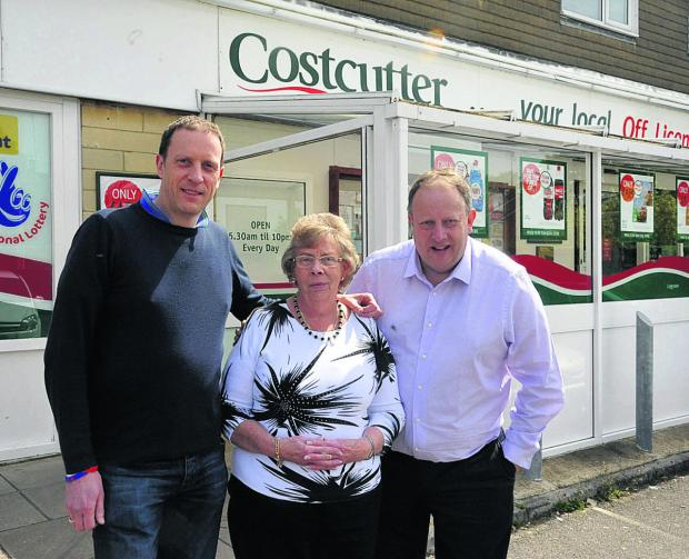 This Is Wiltshire: Mark Terrell, Kath Terrell and Richard Terrell outside Costcutter, which has closed after 32 years          (VS347) PICTURE BY VICKY SCIPIO