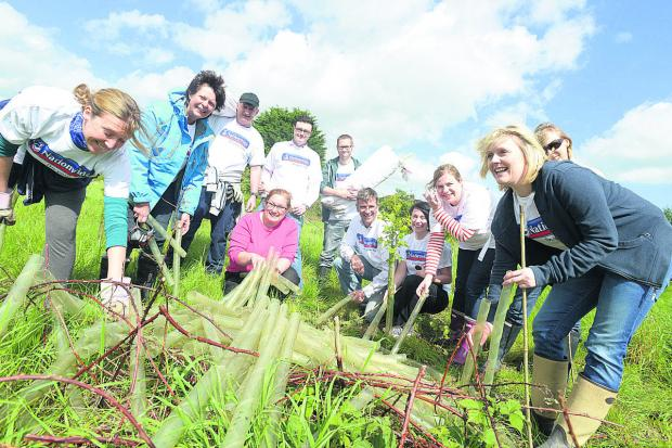 This Is Wiltshire: Kate Henery (in red) with Nationwide volunteers. Picture: THOMAS KELSEY
