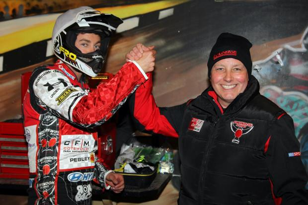 This Is Wiltshire: Troy Batchelor and Alun Rossiter celebrate Swindon Robins' 49-41 victory at Coventry Bees last night (picture courtesy of Jeff Davies)