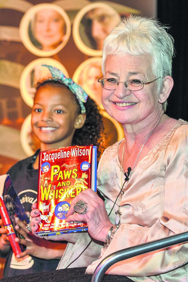 This Is Wiltshire: Dame Jacqueline Wilson with young fan Jasmine Francis
