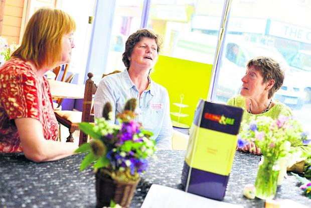 This Is Wiltshire: Liz Rothschild, right, at the Death Cafe event with Rosemarie Thompson and Rose-Anne O'Hare