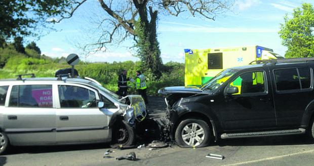 This Is Wiltshire: The accident scene at Yatton Keynell this morning