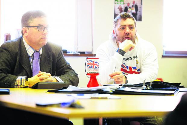 This Is Wiltshire: Mike Buss, right, with MP Robert Buckland at the launch of Swindon Armed Forces Day