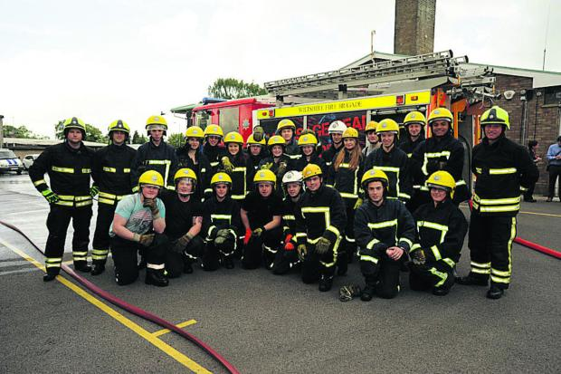 This Is Wiltshire: Wiltshire College students at Trowbridge Fire Station