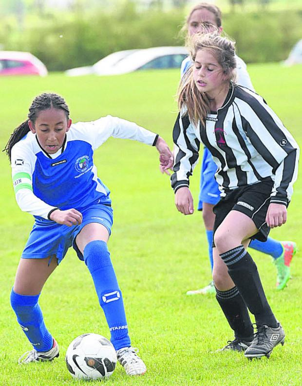 This Is Wiltshire: Action from the U12s' final at Stanley Park as FC Chippenham Youth (blue/white) take on Ashton Keynes (black/white)