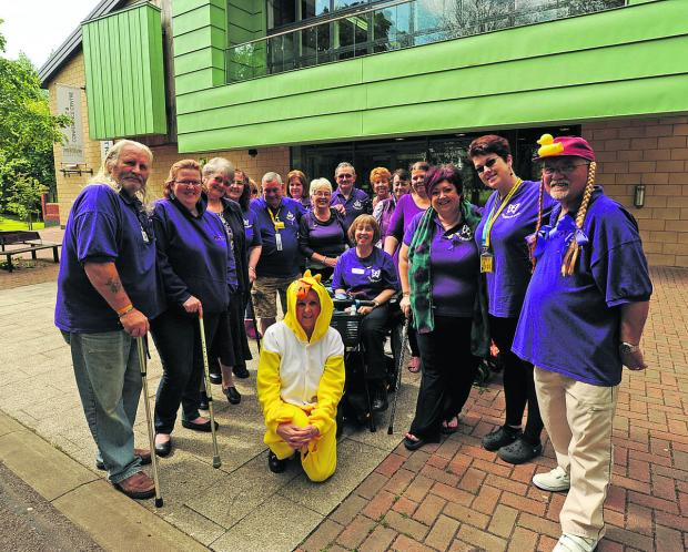 This Is Wiltshire: It's Hello Ducky! as sufferers of Fibromyalgia and their carers came together to raise awareness about the disease during a coffee morning at Trowbridge Civic Centre