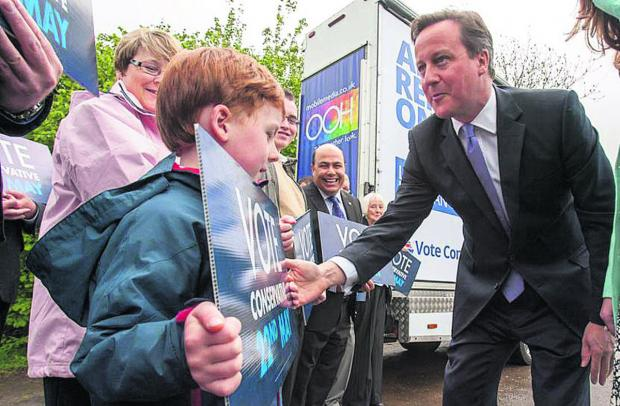 This Is Wiltshire: David Cameron  meets Harry Auty, six, of Malmesbury   (48576) By  trevor porter