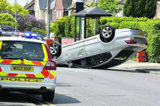 This Is Wiltshire: A Silver VW rolled onto its roof in an accident on Okus Road, near Portland Avenue