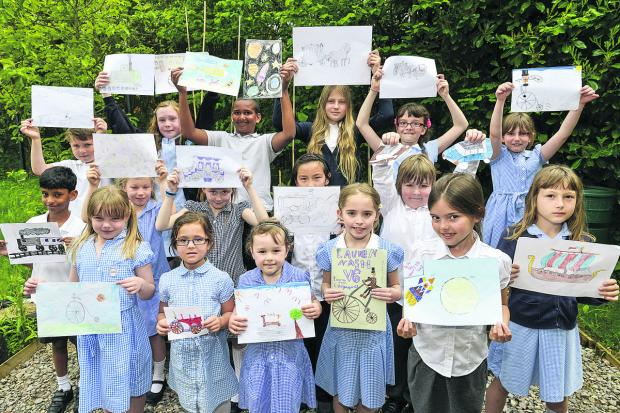 This Is Wiltshire: Pupils from Catherine Wayte Primary school have entered a drawing competition to help promote Walk to School Week – the drawings all depict methods of transport throughout history