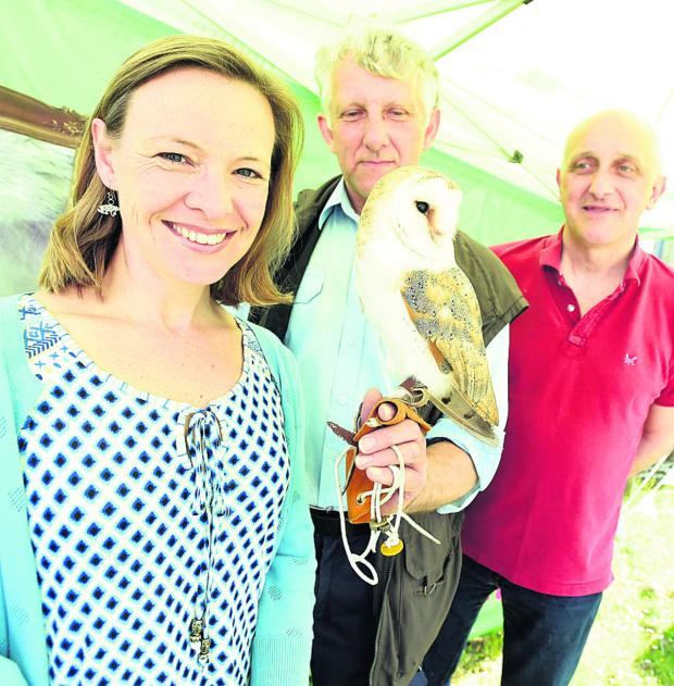 This Is Wiltshire: TV presenter Miranda Krestovnikoff with Phil Dampier from the RSPB, Scrumpy the barn owl and organiser Geoff Carss