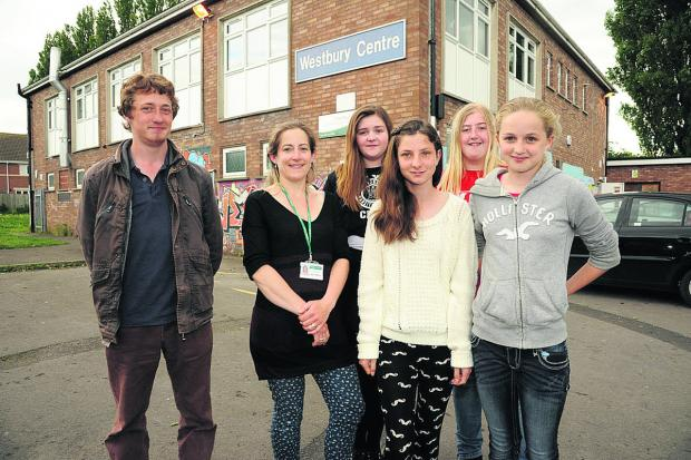 This Is Wiltshire: Youth Worker Sally Willcox, second from left, with Chris Slow, Claire May, Lauren Srawley, Carris Maskell and Caitlin Savage who won awards at the evening of Youth Achievement. Photo: Trevor Porter (48791)