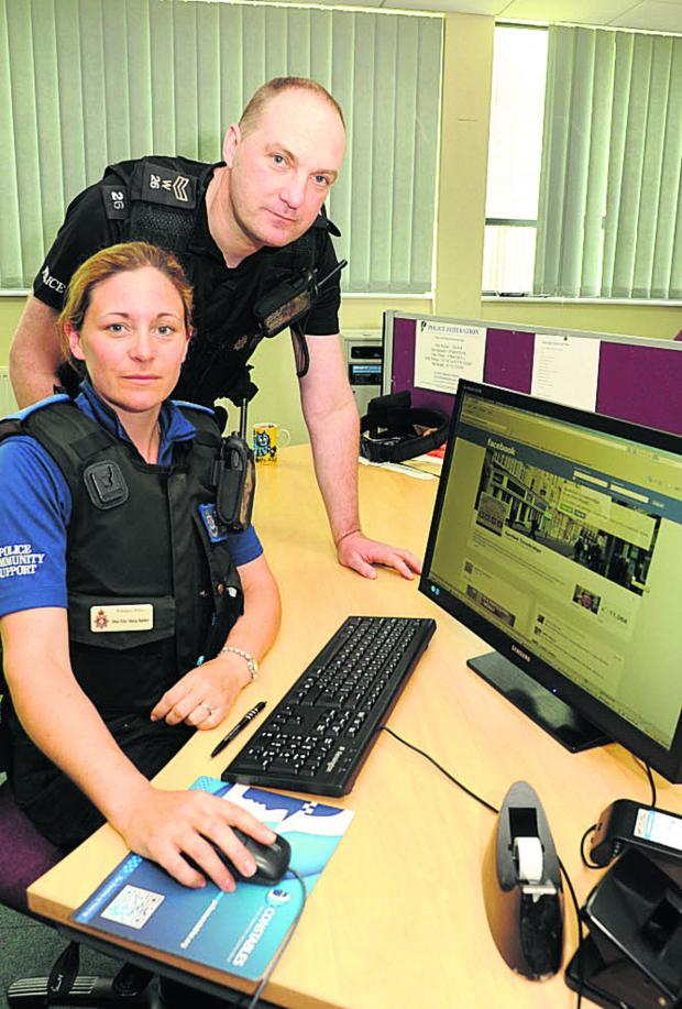 This Is Wiltshire: PCSO Maria Badder and Sgt Jim Suter monitoring social media sites