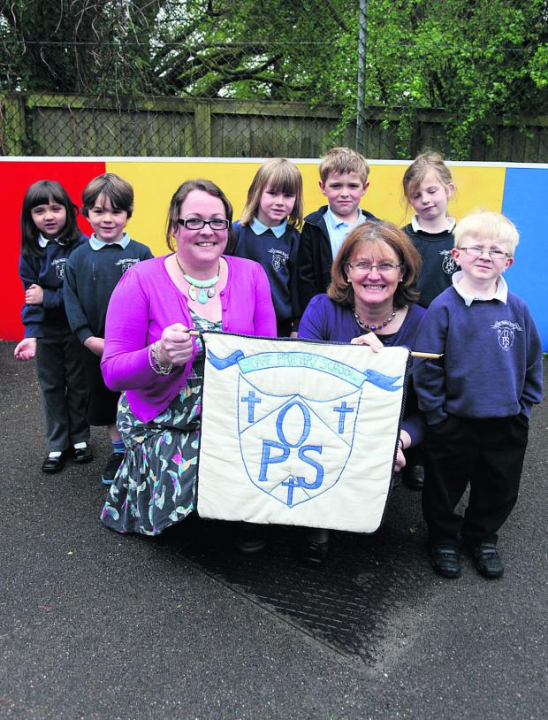 This Is Wiltshire: Sophia, Milo, teacher Bethan Gambold, Isabel, Ollie, headteacher Carol Watkinson, Lila and Jack