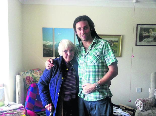 This Is Wiltshire: Joel Wreford and his gran Mary Keepence before the charity haircut
