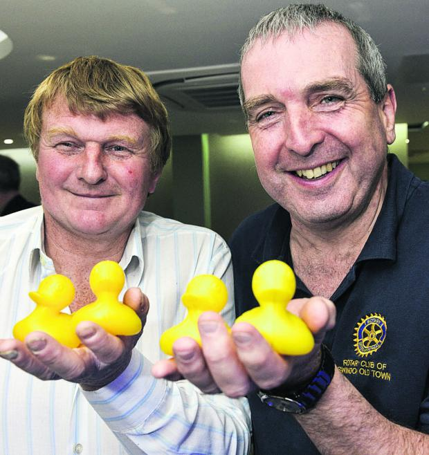 This Is Wiltshire: Stuart Bell left, and Steve Parsons, the Rotary Club's vice chair, with a few wise quacks
