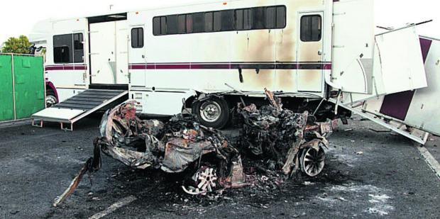 This Is Wiltshire: The horsebox and one of the cars involved in the pile-up; inset, left, owner William Harrison-Allan and, right, trainer Brian Meehan