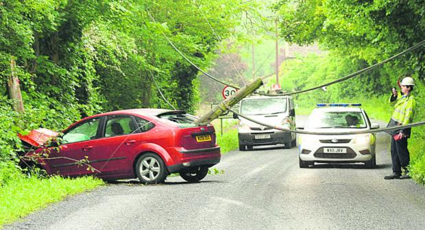 This Is Wiltshire: A woman driver had a lucky escape this morning when she left the Wingfield to Farleigh Hungerford Road and hit a telegraph pole which swung back into the rear window