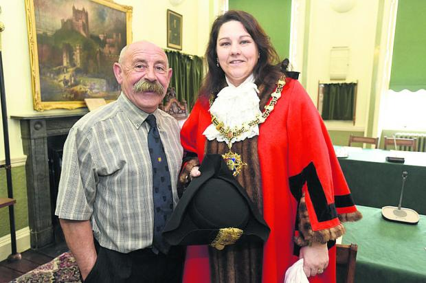 This Is Wiltshire: Outgoing mayor Pete Smith with new Devizes mayor Sarah Bridewell