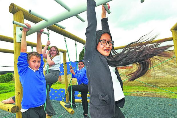 This Is Wiltshire: Mountford Manor Priimary School pupils put their new play equipment through its paces