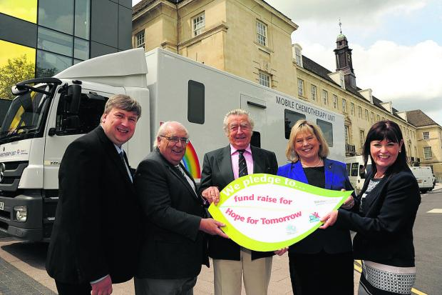 This Is Wiltshire: Launching the appeal are, from left, Coun Jon Hubbard,  Coun Keith Humphries, Patrick Barnard, trustee for Hope for Tomorrow, Coun Jane Scott and Maggie Rae, corporate director