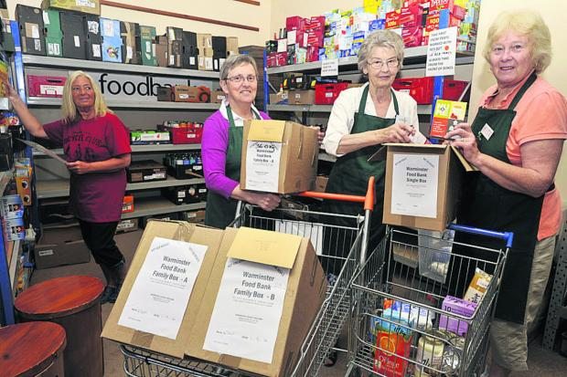 This Is Wiltshire: Volunteers Olga Douglas, Mo Cheesman, Margaret Manning and Kate Skillmar at the Warminster Foodbank