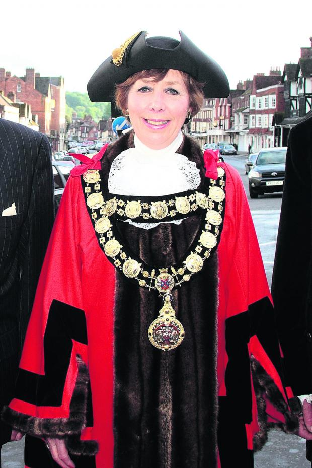 This Is Wiltshire: Coun Marian Hannaford-Dobson resplendent in the new mayoral chains and robes