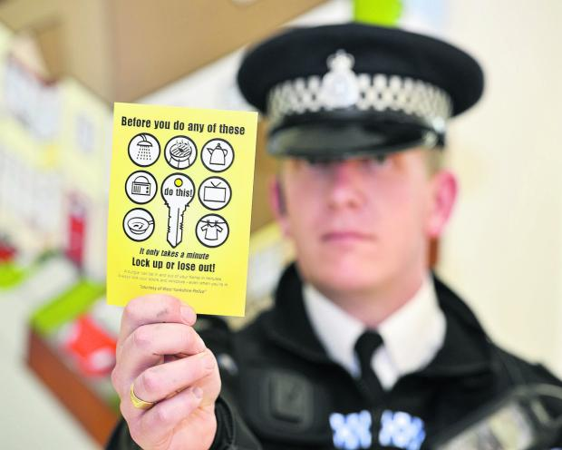 This Is Wiltshire: Acting Inspector town centre Graham McLaughlin launches the police and community safety partnershipcampaign to crack down on opportunistic thefts