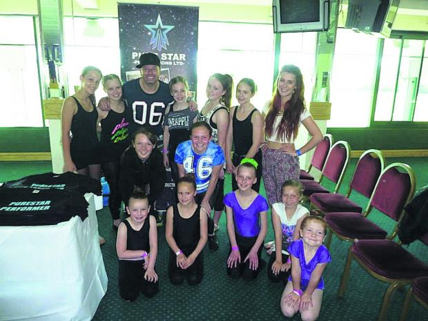 This Is Wiltshire: Tim Noble and dancers from Lindsay Howard Academy of Dance with their teacher, Emma-Jane Bramwell-C