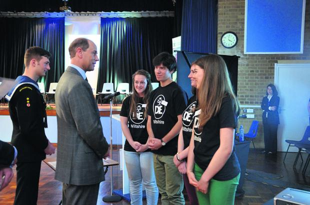 This Is Wiltshire: From left, Caitlin Barber, Josh Brackstone, Sarah Clifton and Isabel Slark meet Prince Edward