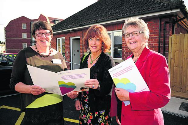 This Is Wiltshire: Advice columnist Bel Mooney, centre, pictured with Relate chief executive Amanda Foyster, left, and chairperson Lesley Braithwaite at the charity's new premises in Prospect Place, Trowbridge, last Thursday