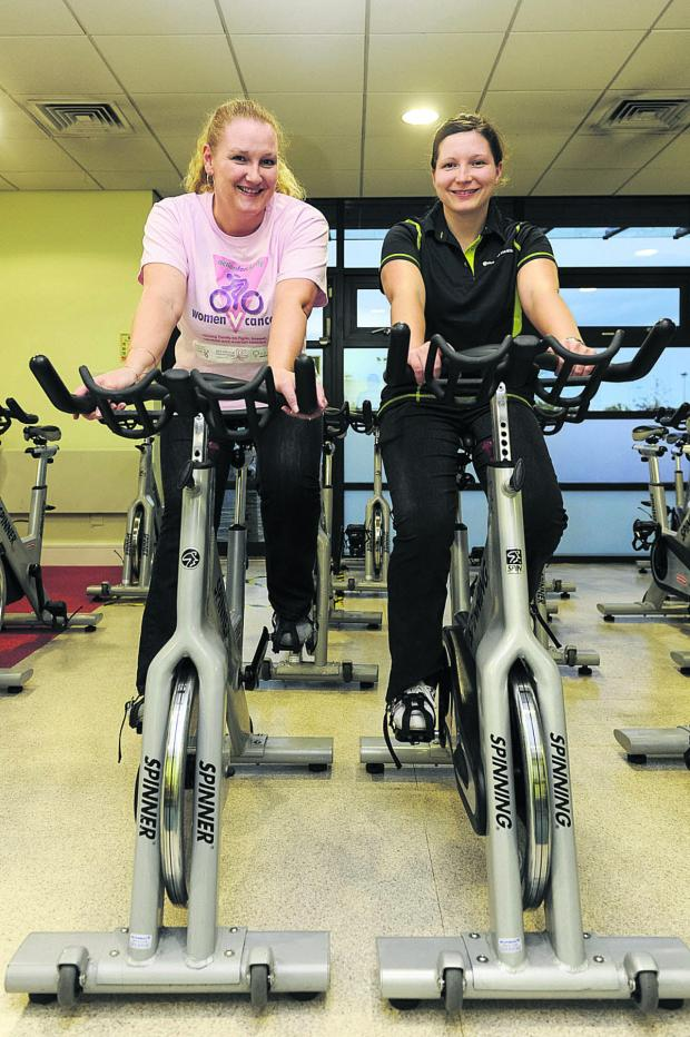 This Is Wiltshire: Michelle Bentham, left, and Faye O'Donoghue prepare for their 400km bike ride round Cuba