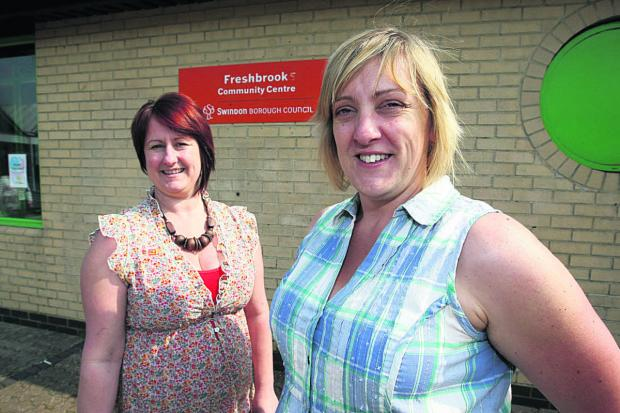 This Is Wiltshire: Tracy Brown, the vice-chairman of Freshbrook Community Centre, with chairman Stephanie Bird at its opening