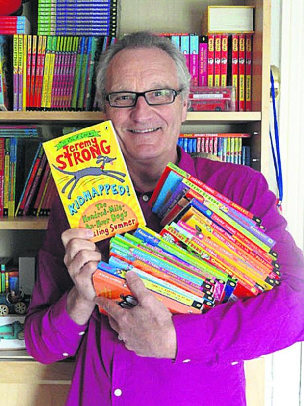 This Is Wiltshire: Bradford on Avon children's author Jeremy Strong celebrates the publication of his 100th book, Kidnapped! The Hundred-Mile-An-Hour Dog's Sizzling Summer