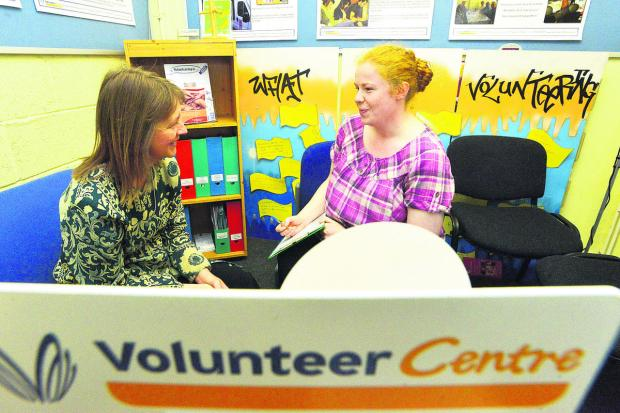 This Is Wiltshire: Jane Butler and Kirstie Reeve at the Volunteer Centre in Swindon