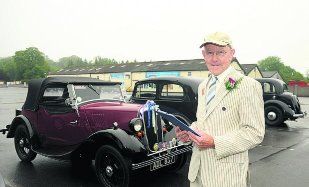 This Is Wiltshire: Tony Hale with his 1936 Morris Eight before the motor tour for vintage Morris vehicles. Photo: Trevor Porter (48869)