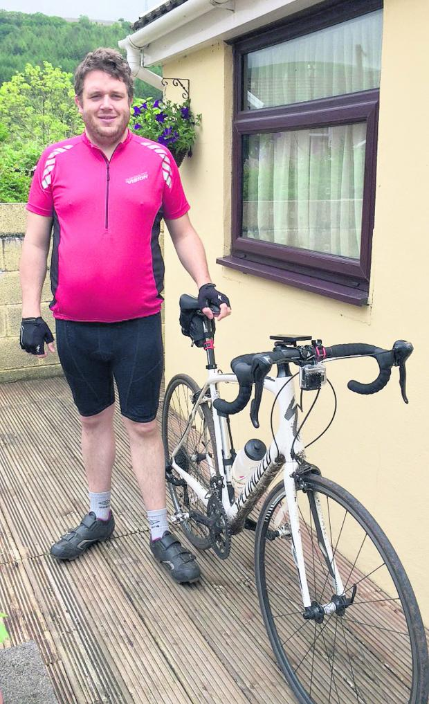 This Is Wiltshire: Dan Pierce, who is doing a charity bike ride from Cardiff to Paris