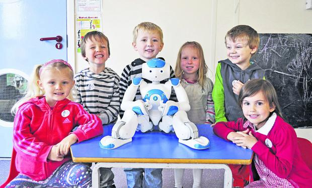 This Is Wiltshire: Children at Redland Nursery with the visiting robot, wh