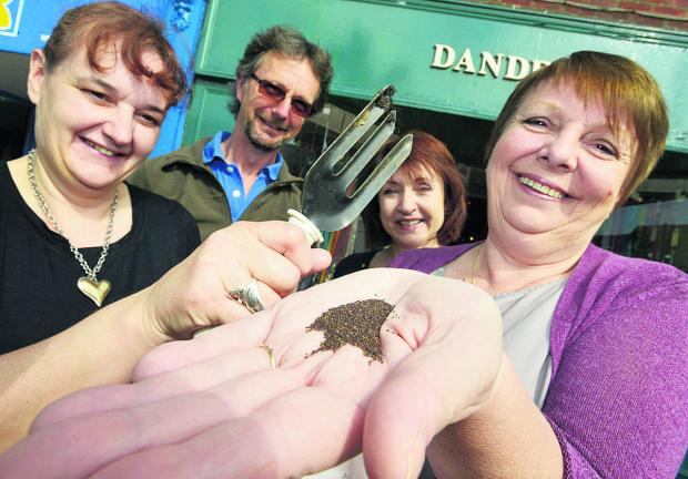 This Is Wiltshire: From left, Janette Elver, groundsman John Macindoe, Angie Reeves and Hazel Newson with the poppy seeds