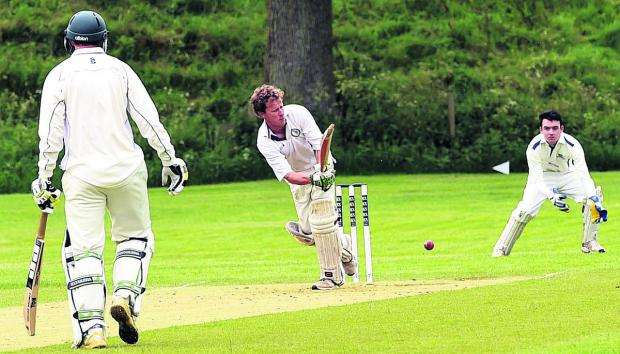 This Is Wiltshire: Avebury's John Rheinberg flicks a shot during his side's 50-run triumph over Heytesbury & Sutton Veny in Division Three on Saturday