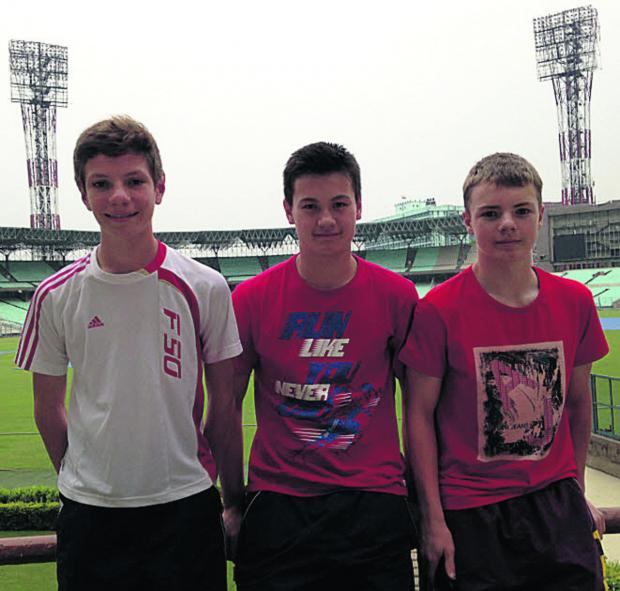 This Is Wiltshire: The Biddestone trio take a look around the famous Eden Gardens stadium in Kolkata