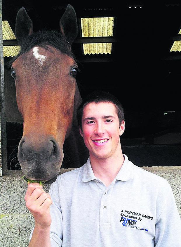 This Is Wiltshire: James Harding with horse Jebril, who he rode to victory at Newbury last Saturday